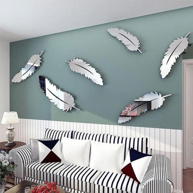 Mur De Plume Autocollant DIY Miroir Décoration Stickers Art Pour Enfants  Chambre Accueil Stickers Muraux Papier