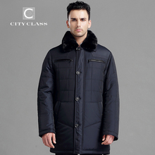 CITY CLASS New Men Thick Warm Winter Jacket Classic Slim Fit Long Coats Leather Thinsulate Removable Mink Collar Outerwear 14343