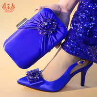 2019 New Italian Shoes with Matching Bags for Wedding Italy High Heels Women Wedding Shoes Royal Blue Color Shoe and Purse Set