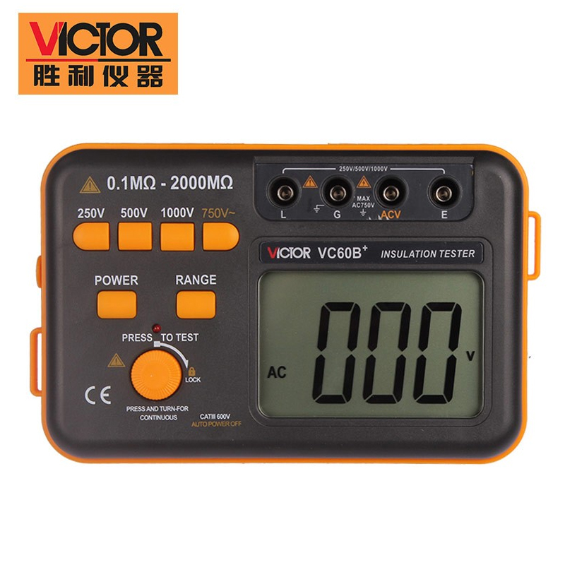 VICTOR VC60B+ Digital Insulation Resistance Tester Megger MegOhm Meter 250v/500v/1000v as907a digital insulation tester megger with voltage range 500v 1000v 2500v