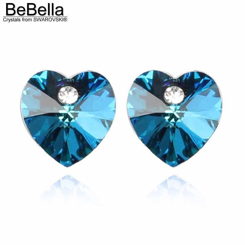 BeBella 15 צבעים לב קריסטל stud עגילים עם קריסטלים סברובסקי אלמנטים לנשים gilrs תכשיטים מתנה 2018