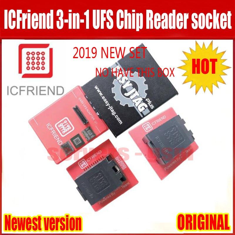 2019 el más nuevo ORIGINAL UFS adaptadores socket ICFriend ICs-UFS 3 en 1 UFS BGA254 BGA153 BGA9 con fácil JTAG más trabajo de caja