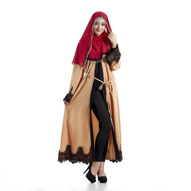 Encaje Nueva Outwear Ropa Cardigan de Turquía y Oriente medio Musulmán Árabe Islámica Abaya de Las Mujeres de Moda de Gran Tamaño