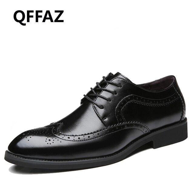 QFFAZ Baru Pria Gaun Kulit Asli Kasual Sepatu Flat Bisnis Oxford Pria Sepatu  Formal Pria Sepatu 3a0605ed4d