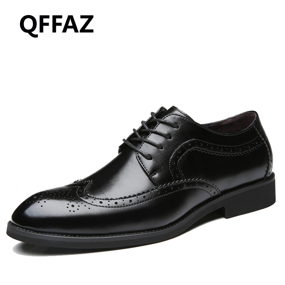 QFFAZ New Men Dress Genuine Leather Casual Shoes Flats Business Oxford Men Formal Shoes Wedding Men Shoes cbjsho brand men shoes 2017 new genuine leather moccasins comfortable men loafers luxury men s flats men casual shoes
