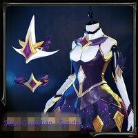 Sıcak Satış Oyun LOL Yıldız Guardian Syndra Koyu Custom Made Lady Cosplay Kostüm Kadın Elbise Cadılar Bayramı Çünkü Heads