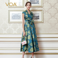 VOA 2017 Fall Fashion Blue Vintage Chinese Style High Waist V Neck Slim Dress Plus Size Women Silk Maxi Long Dress ALX12301