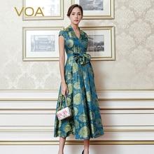 VOA 2017 Fall Fashion Blue Vintage Chinese Style High Waist V Neck Slim Dress Plus Size Women Silk Maxi Long Dress ALX12301