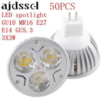50PCS High Power Lampada LED spotlight E27 GU10 E14 GU5.3 led bulbs Dimmable 3X3W Led Lamp light MR16DC 12V Dimmable AC110V 220V