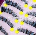 10 Pairs Black and Blue Hand made Long false eyelashes fake eye lashes Makeup Beauty Tool S34 cola para cilios