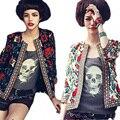 2016 новинка весна осень новинка одежда женщин национальный стиль мода цветочный печатных куртка пальто свободного покроя кардиган Большой размер