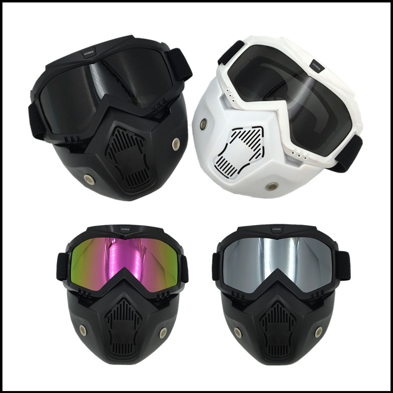 afa9476642d28 Nova VCOROS Modular Máscara Destacável Óculos E Boca máscara de Coslplay  Filtro Perfeito para o Rosto Aberto Capacetes Da Motocicleta do vintage em  ...