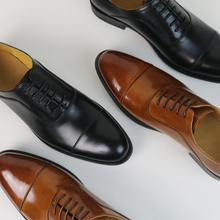 Goodyear leather handmade Oxford shoes British wind three joints men's business dress shoes groom married youth