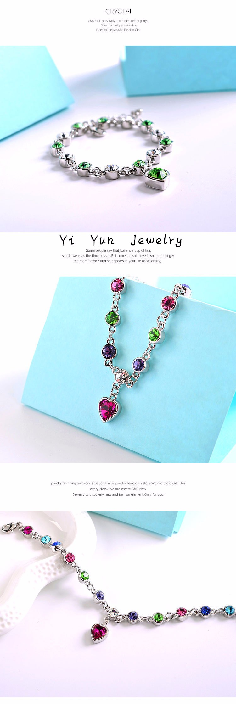 LYIYUNQ Fashion Bracelet Hot Wedding Female Heart Crystal Bracelets For Women Luxury Temperament Silver-Color Fine Jewelry Gift 8