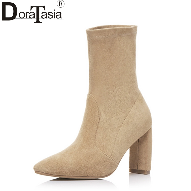 DoraTasia New Brand Design Large Size 33-43 Pointed Toe Women Shoes Woman Sexy Square High Heels Slip On Party Ankle Boots lady glitter high fashion designer brand bow soft flock plus size 43 leisure pointed toe flats square heels single shoes slip on