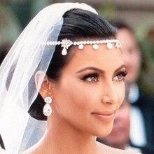 1 шт. модные украшения для волос аксессуары для волос женские цветочные хрустальные стразы повязка на голову Свадебная цепочка на голову свадебные головные уборы