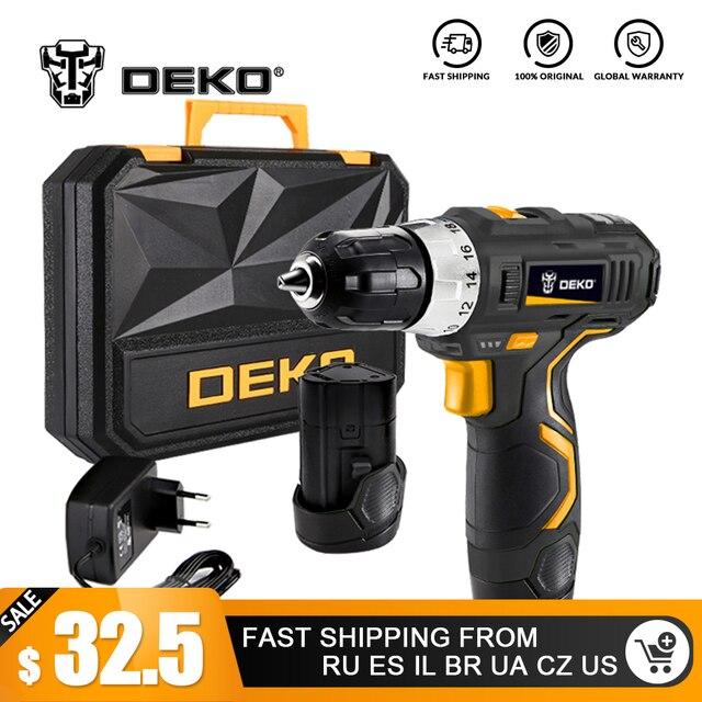 DEKO GCD12DU3 12-максимальное напряжение литий-ионный Батарея 32N. m 2-Скорость электрическая Беспроводная Дрель Мини дрель шуруповерт Беспроводной Мощность драйвер