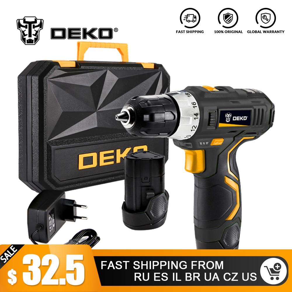 DEKO GCD12DU3 batterie Lithium-Ion Max 12 volts 32N. m perceuse électrique sans fil 2 vitesses Mini perceuse visseuse sans fil