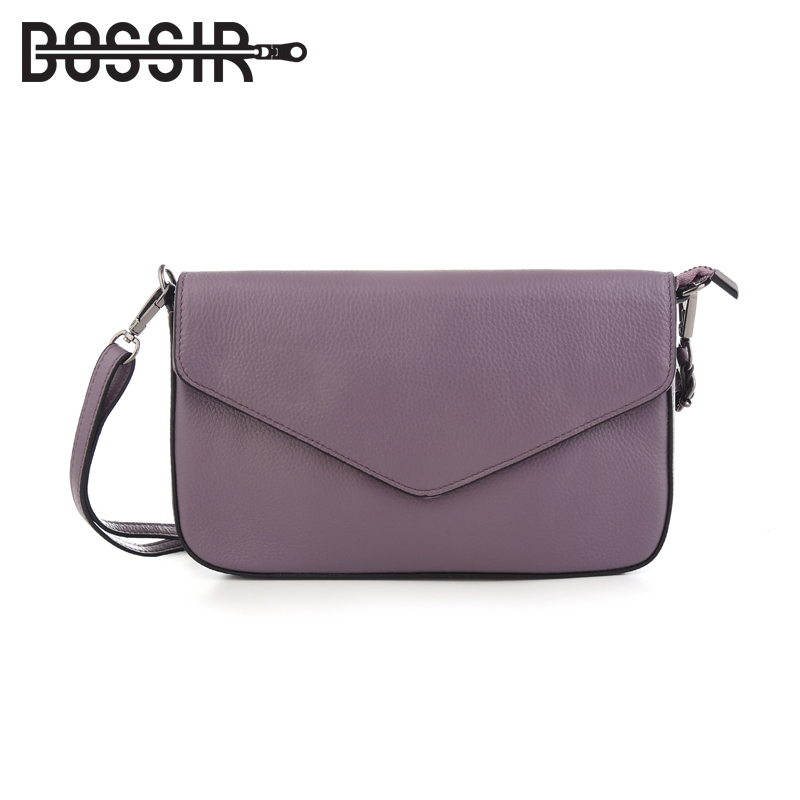 Genuine Leather Women Messenger Bags Envelope Cover Solid Color Fashion Small Crossbody Bag Shoulder Bags Clutch simple fashion women handbag solid color clutch bag leather envelope bags ladies over shoulder package 88 wml99