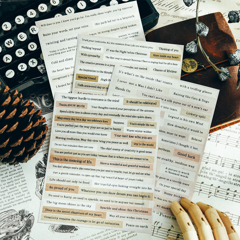 KLJUYP 4sheets Vintage Phrases Stickers For Scrapbooking DIY Projects/Photo Album/Card Making Crafts