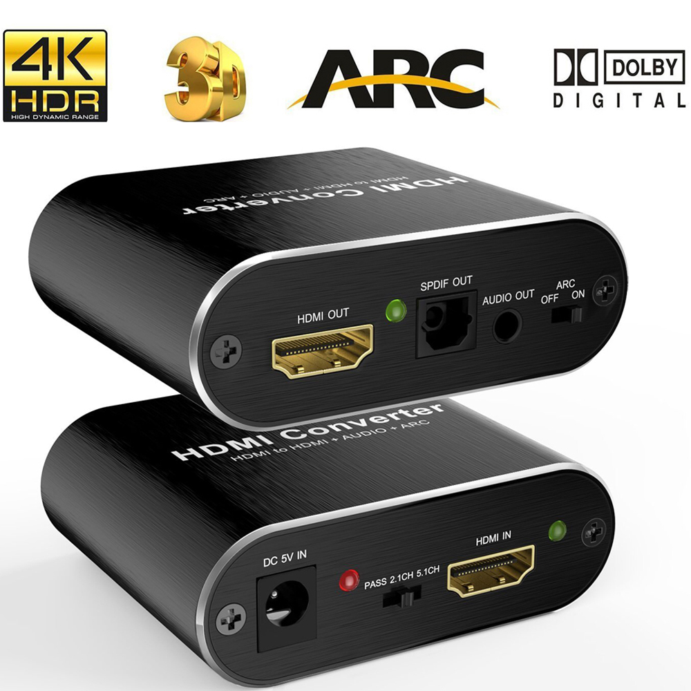 HDMI Audio Extractor 4 karat 60 hz 5,1 ARC HDMI Audio Extractor Splitter HDMI Zu Audio Extractor Optische TOSLINK SPDIF