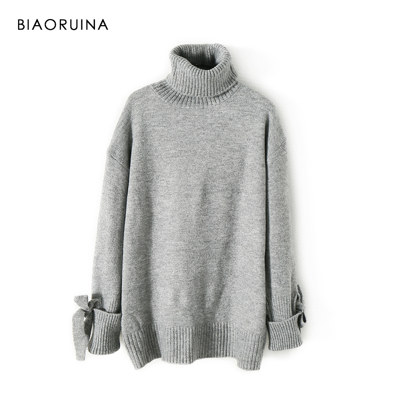 BIAORUINA Women's Fashion All-match Loose Knitted Sweater Ladies Casual Turtleneck Pullovers Bow Lace Up Warm Sweet Sweaters 1