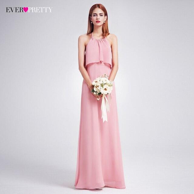 41cca98509 Elegant Bridesmaid Dresses Ever-Pretty Long Ruffles Chiffon Halter Backless Dresses  Wedding Occasion Dress 2018 EP07129