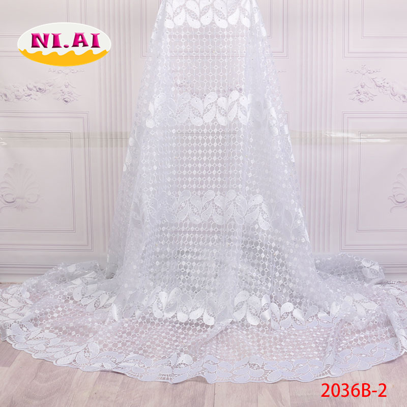 2018 Hot Sale African Cord Lace Fabric with diamond Latest White Nigerian Guipure Embroidered Lace Fabric