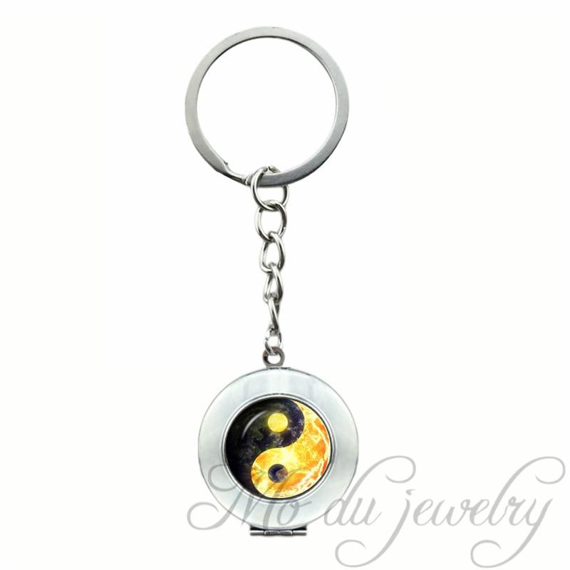 ᐂ2018 Tierra y Fuego yin yang colgante religiosa llavero anillo ...
