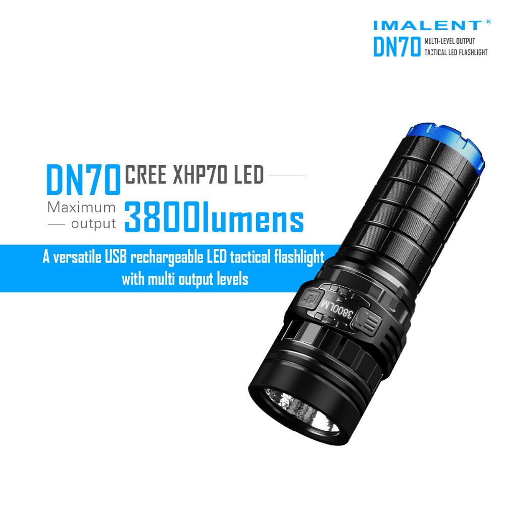 IMALENT DN70 USB Rechargeable CREE XHP70 3800 Lumens LED Tactical Flashlight LED Flashlight by 26650 Battery