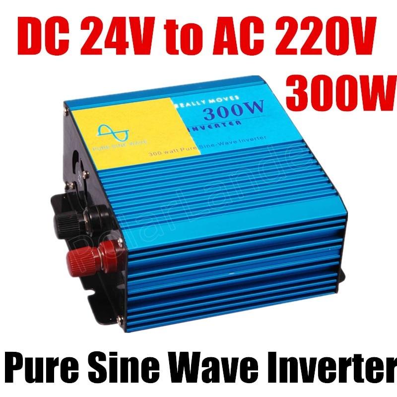 Free shipping 24V DC to 220V AC 300w Pure Sine Wave Power Inverter Power inverter Car Inverter Converter 50HZ