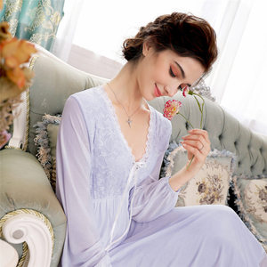 Image 5 - Elegant High Waist Pink Sleepwear Women Nightgowns Long Sleeve V Neck Night Wear Sleep Shirt Vintage Lace Home Dress Ladies T311