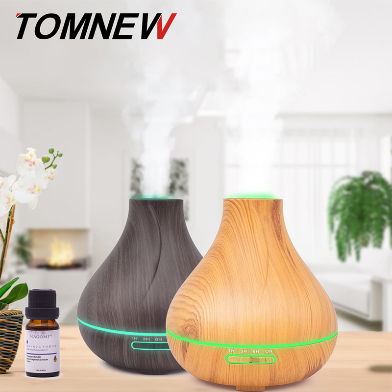 где купить TOMNEW 400ML Air Humidifier Essential Oil Diffuser wood grain Aromatherapy diffuser Aroma purifier Mist Maker led light for Home дешево