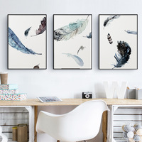 3Pcs Abstract Feather Modren Oil Painting Canvas Painting Printed Nordic Wall Art Home Decor For Living Room A4 Posters No Frame