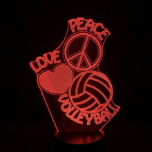 Volleyball Led Night Light Sport Decorative Love Peace Logo Prize Optical Desk Fancy Infant Multicolor 3d Lamp