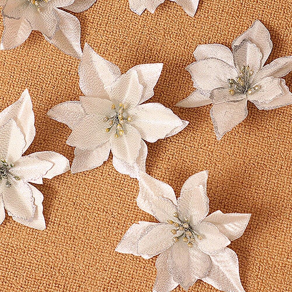 1 шт. 15 см Золотой Край имитация на Рождество цветок для свадебной вечеринки гирлянды украшения многоцветный пластик липкий порошок цветок