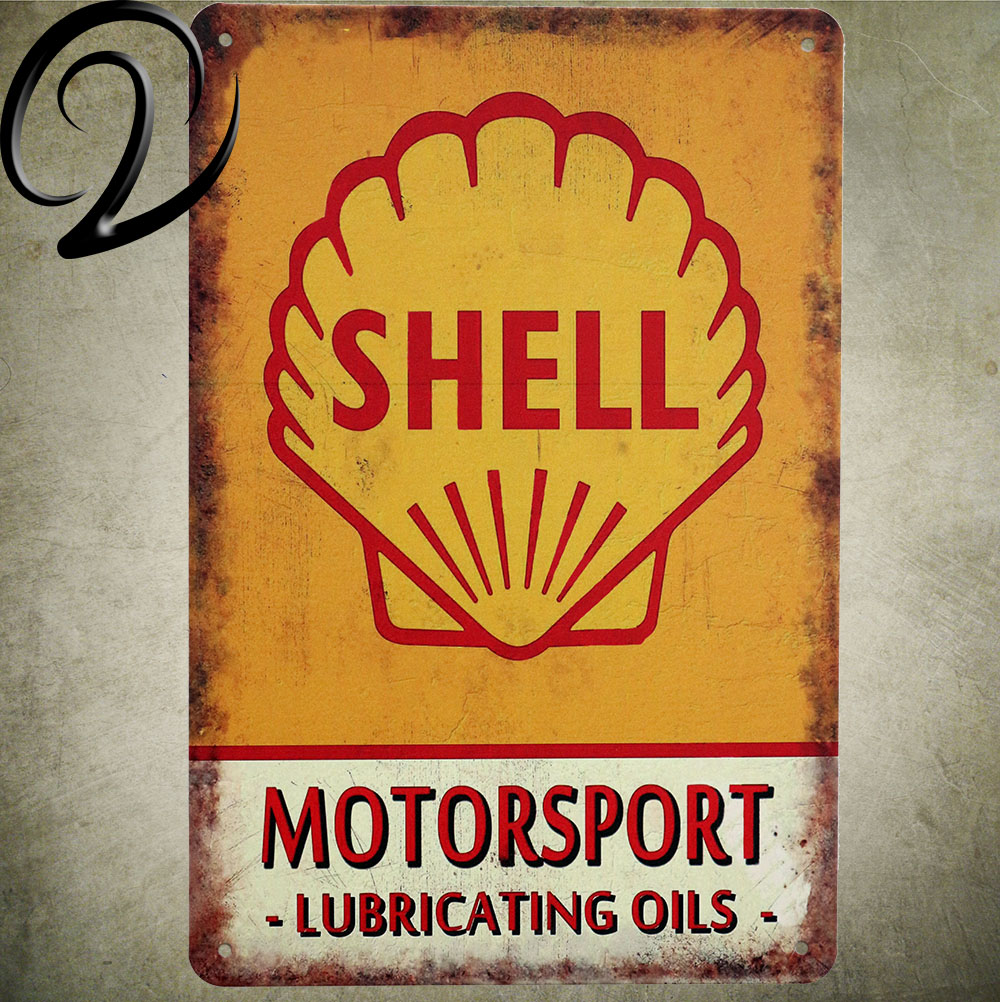 Shell Motorsport Lubricating Oils Shabby Chic Bar Pub Garage Wall Decor Tin Plates Vintage Home Decor Metal Signs