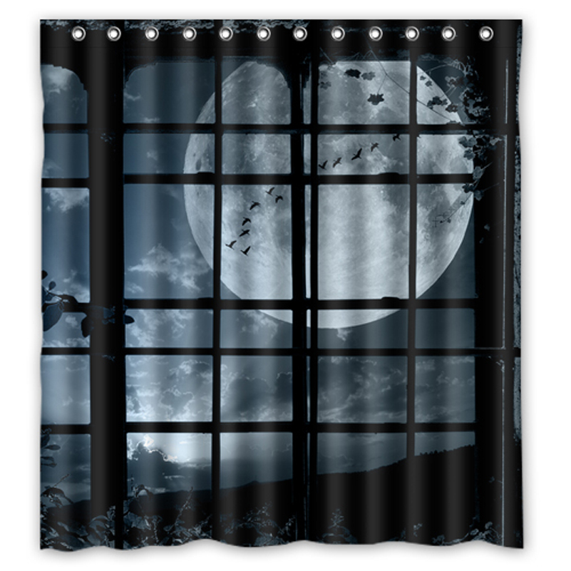 Night window plant flock birds moon custom design bathroom shower curtain waterproof curtains for 36 inch bathroom window curtains
