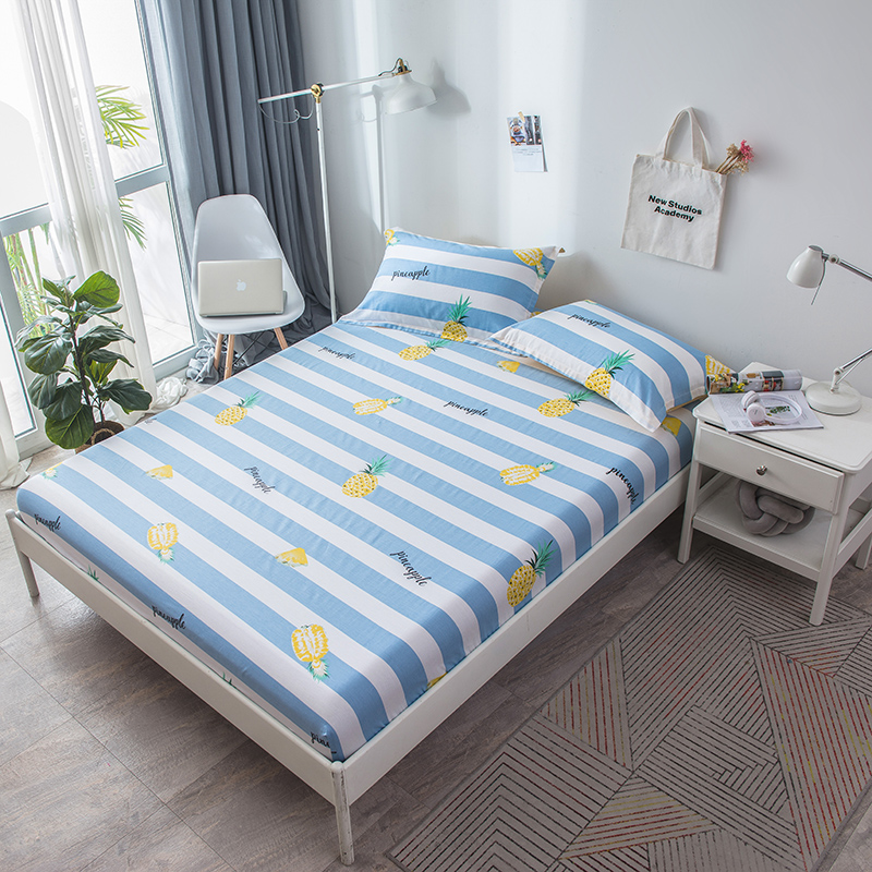 2019 Blue Fruit Pineapple Fitted Sheet 100 Cotton Bed Linen Mattress Cover Protect 120 200 150