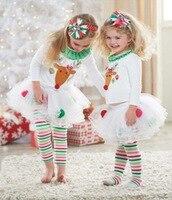 Baby meisje Nieuwjaar Kleding Set Kerst Dag Kleding Elanden Dier Ontwerp Katoen 2 Stuks/set Top + Broek Leeftijd 1-5 T