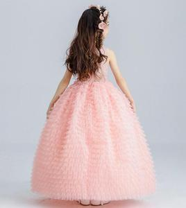 Image 3 - Sang trọng Màu Hồng Tulle Flower Girl Dress Trẻ Em Váy Cưới Dài Mắt Cá Chân Appliques Bead Kids Đảng Prom Dress Lần Đầu Dresses
