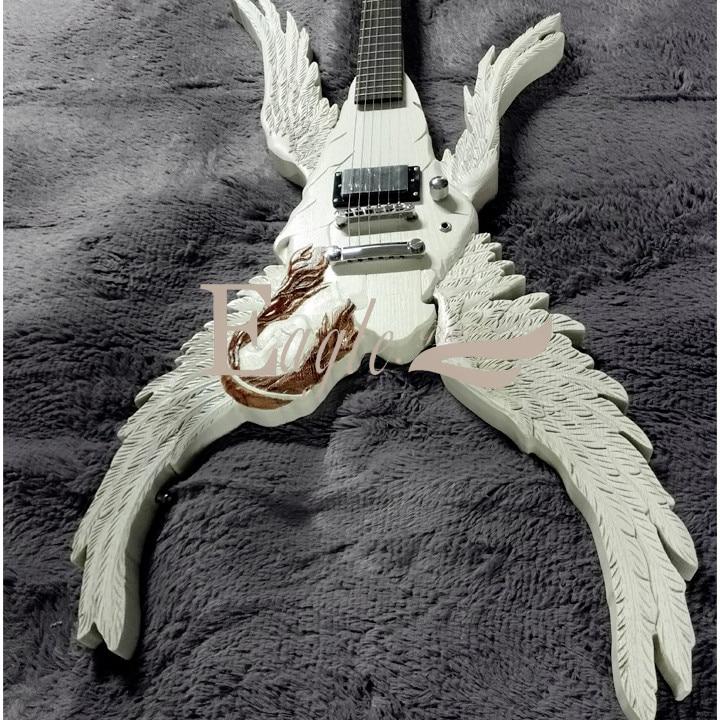 Aigle. Papillon guitare basse boutique personnalisée ailes d'ange guitare électrique manuel bricolage magnifiquement sculpté en forme spéciale guitare électrique