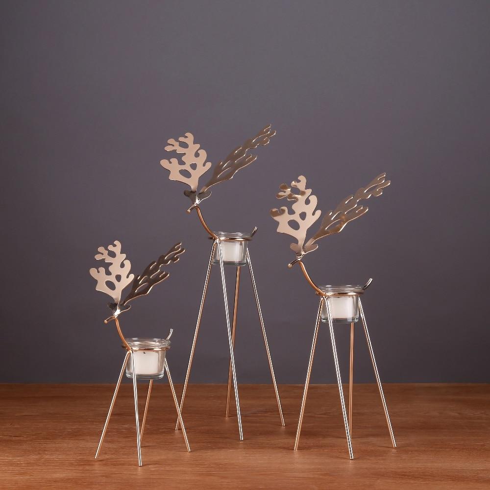 deer shape europe golden metal small tealight holders tabletop