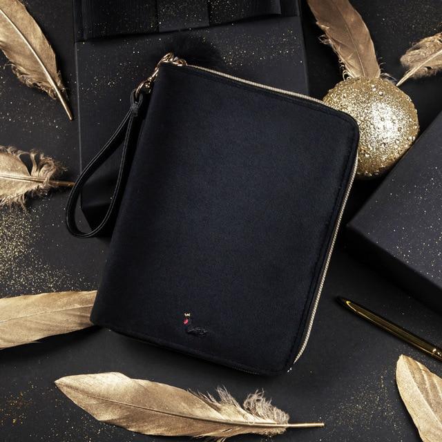 Luksusowe Kinbor A6 czarny łabędź podróżuje dziennik pudełko pamiętnik czarny aksamit Planner Zipper Notebook kreatywny piśmienne BJB57
