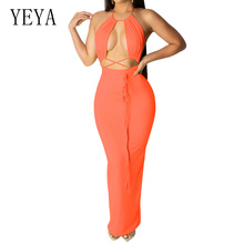 YEYA Sexy Hollow Out Cross Bandage Halter Bodycon Pencil Dress Women Elegant Backless Off Shoulder Sleeveless Summer Party Dress цена и фото