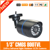 Waterproof Nightvision Bullet CCTV Camera 24Pcs Infrared Light CMOS 800TVL Camera For Outdoor Home Video Security