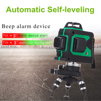 3D 12 Line 360 Degree Laser Plumb point Function Auto Self Leveling Vertical Horizontal Level Cross GREEN with Tripod Waterproof