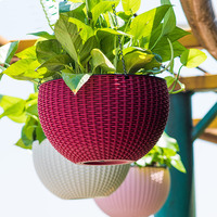 Brief Hanging basket flower pot Exquisite imitation rattan flower pots hanging decoration Water storage Automatic watering