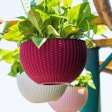 Brief Hanging basket flower pot Exquisite imitation rattan flower pots hanging decoration Water storage Automatic watering