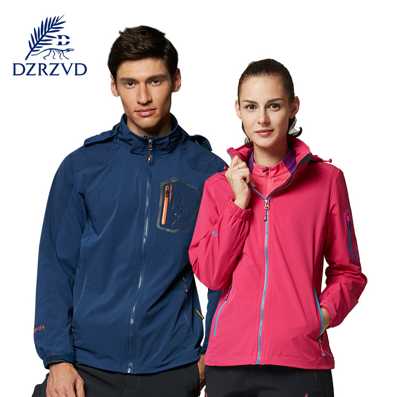 ФОТО DZRZVD  Outdoor Women Hiking Jacket Autumn Winter Zipper Camping Jacket Female  Windproof Hunting Clothes